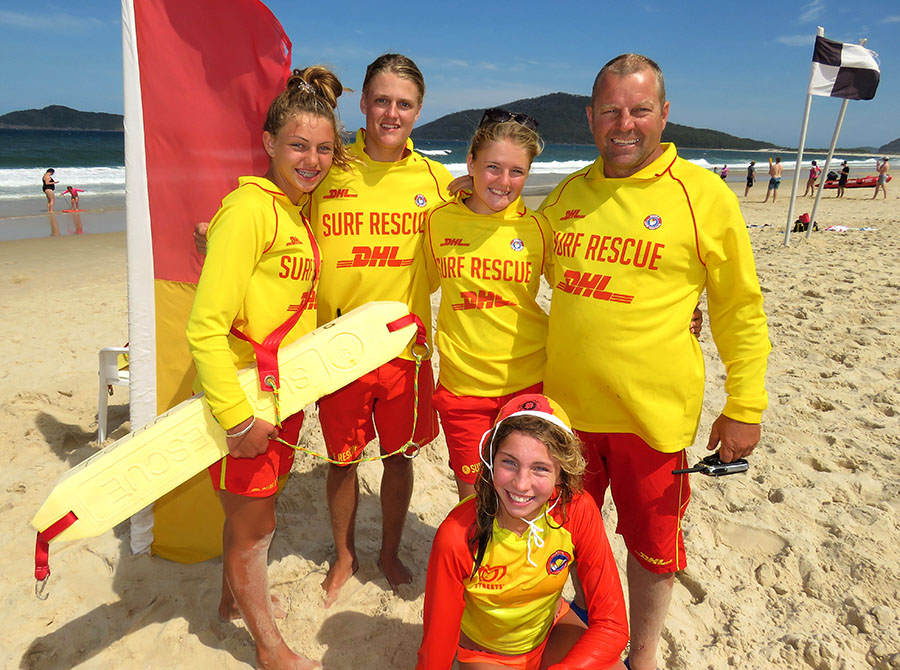 BEACH SAFETY: Volunteer lifesavers Mackenzie Young, Zac Churchouse, Maddi Churchouse, Club Patrol Captain Craig Young and Molly Young.