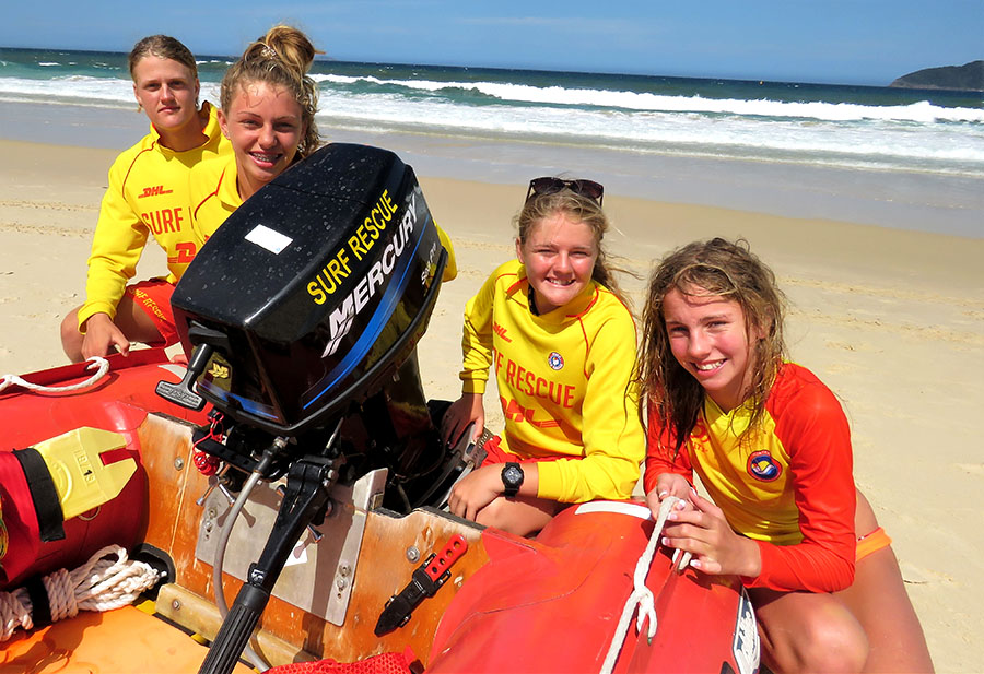 SURF RESCUE: Volunteers Zac Churchouse, Mackenzie Young, Maddi Churchouse and Molly Young.