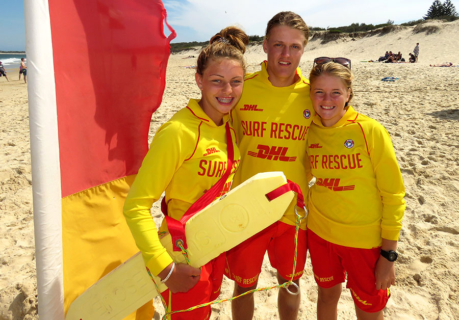VOLUNTEER LIFESAVERS: MacKenzie Young, Zac Churchouse and Maddi Churchouse.