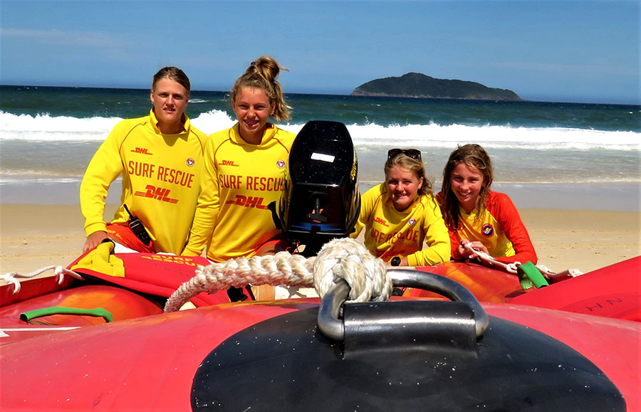 SURF RESCUE: Zac Churchouse, Mackenzie Young, Maddi Churchouse and Molly Young.