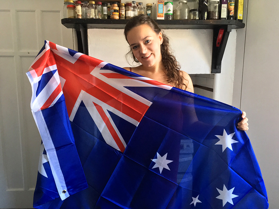 Meg Drury flying the flag.