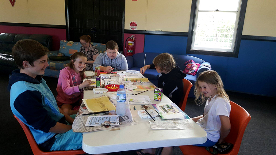 Jack, Amy, Zane and Emma Grant along with Seth Morrissey all enjoying the art class.