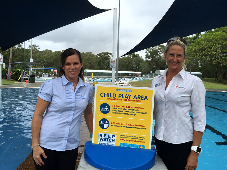 Hunter Regional Manager of Royal Life Saving NSW Tanya Brunckhorst and Centre Manager of Tomaree Aquatic Centre Suellen Goyne.