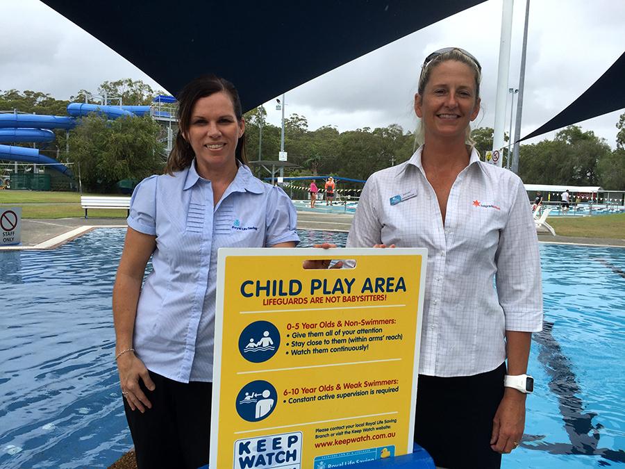 Hunter Regional Manager of Royal Life Saving NSW Tanya Brunckhorst and Centre Manager of Tomaree Aquatic Centre Suellen Goyne.