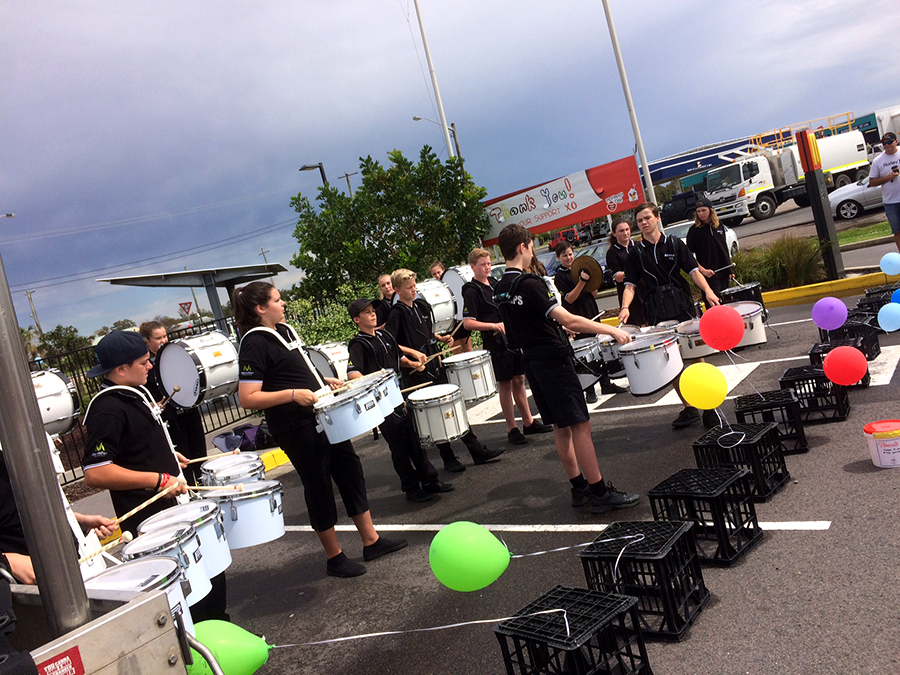 Junior Drum Corp treating crowds at a performance.