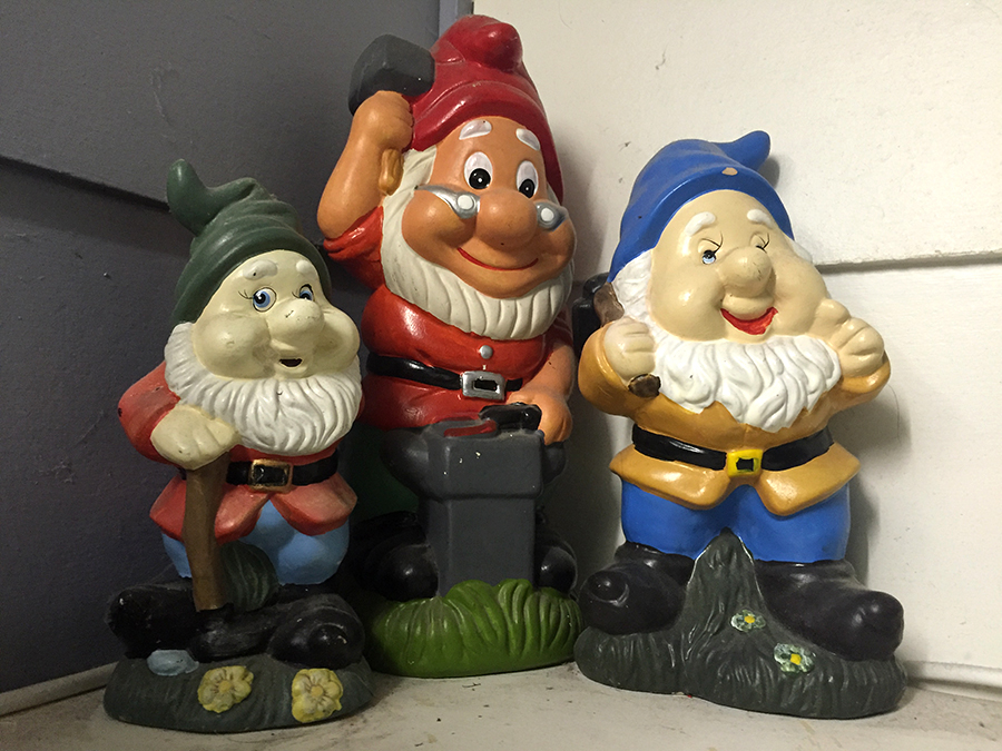 Gnomes appearing in this picture are purely for storytelling purposes. Any resemblance to real gnomes, stolen or not, is purely coincidental.