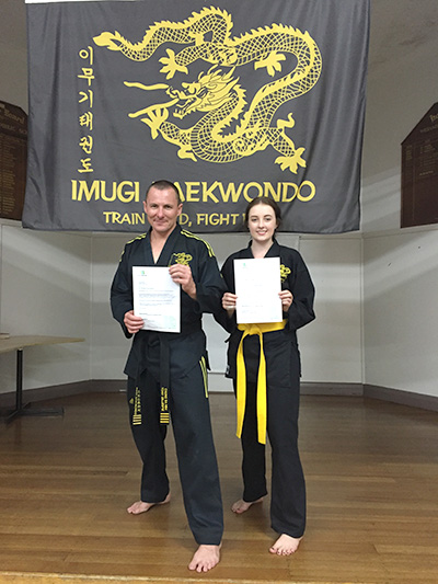 Two nominees of the Port Stephens Council Community Awards: Tony Gillespie and Carissa Maher during Taekwondo training.