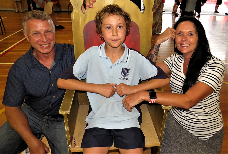 SUPPORTING: Ken and Kim Smith congratulate Dane Pope from Tea Gardens following his first public performance.