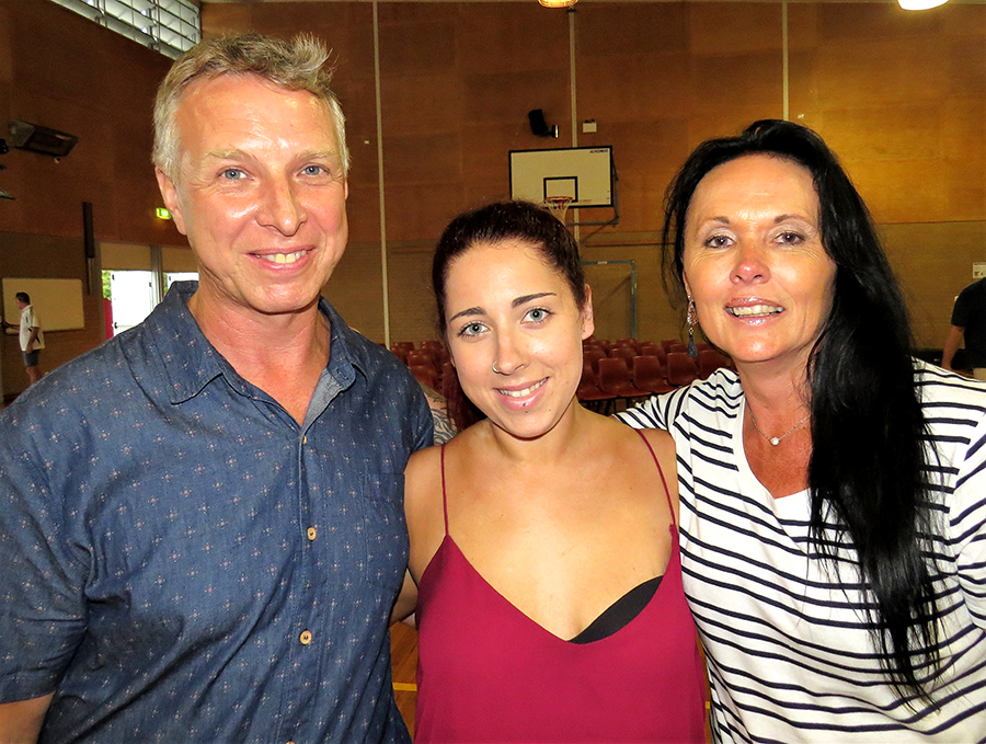 Ken and Kim Smith with former student Rhiannon Campbell from Hawks Nest.