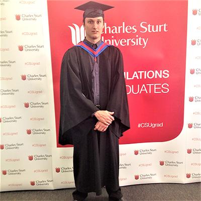 GRADUATION DAY: Mitchell Markham at Charles Sturt University.