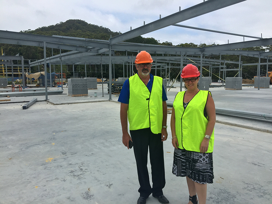 General Manager Trevor Harrison and Sales and Marketing Manager Natalie Kelly standing in the future functions room.