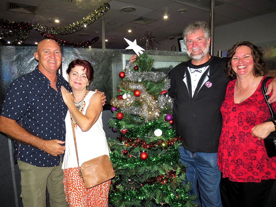 CELEBRATING THE NEW YEAR: Trevor and Kylie Jennings with Mark and Karen McCormick at Tea Gardens Country Club.