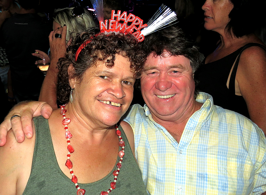 NEW YEAR CELEBRATIONS: Maria Duroux and John Williams at Tea Gardens Country Club.