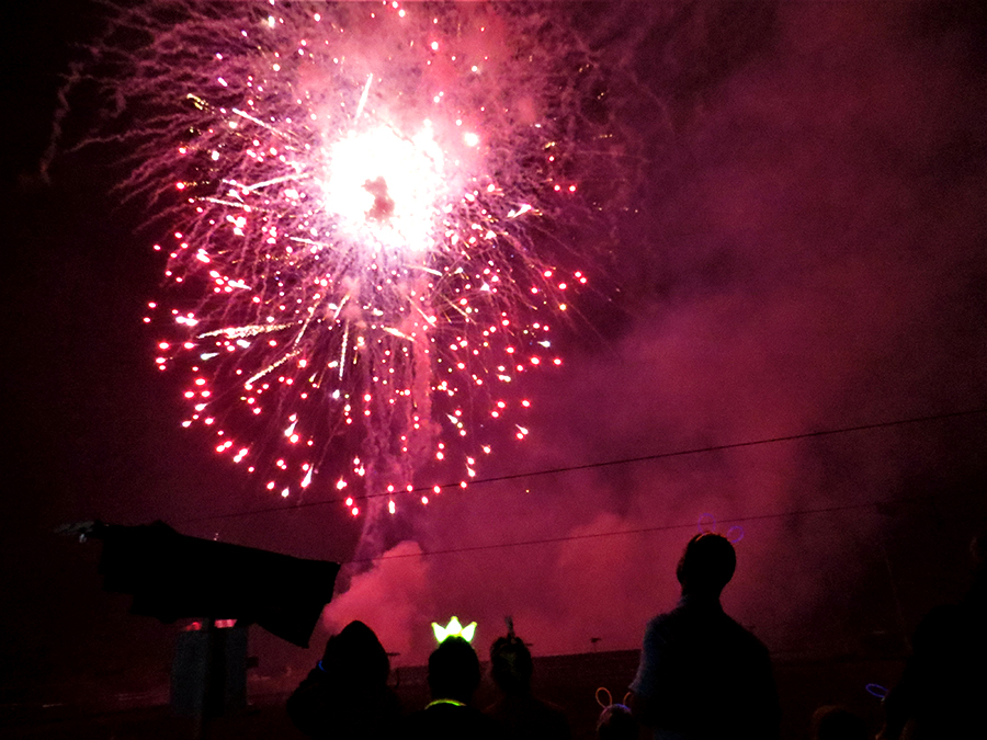BLAZE OF COLOUR: Fireworks fill the sky at Tea Gardens Country Club.