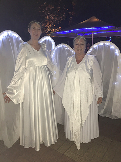 """""""Kalikayama"""" and """"Kalibolo"""" two 'Peace Angels' visited Nelson Bay on Friday night."""