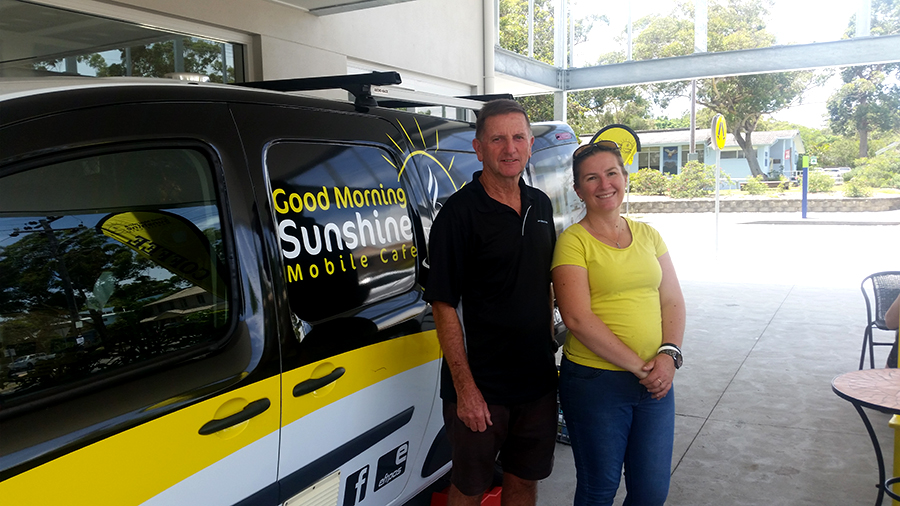 POP UP COFFEE VAN: Owner Sally Griffith & Dad Max Mahony.