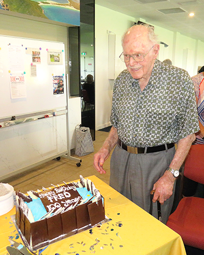 Fred Burton 100th Birthday Celebration at Probus's  first meeting of 2017.