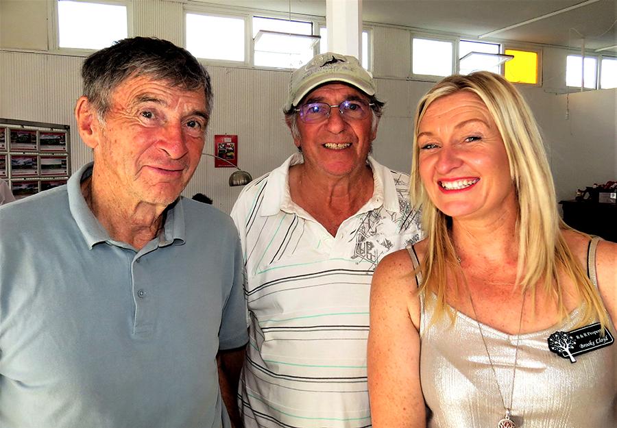 FESTIVE CELEBRATION: Community members George Eadie and Sam McCorriston with Brooke Lloyd from R & R Property.