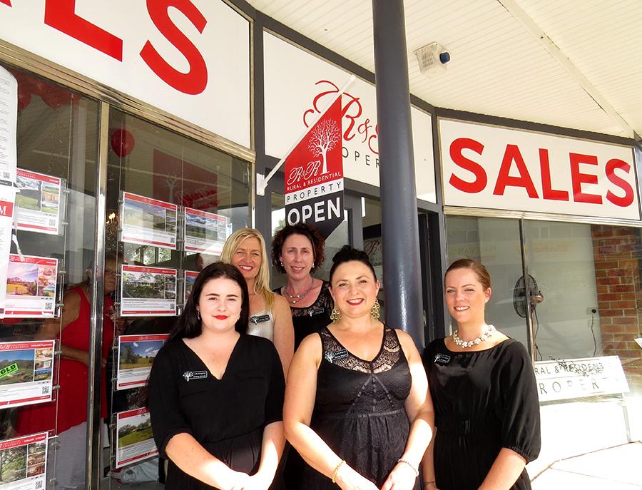 R&R TEAM: Tammy Grady, Denise Haynes, Brooke Lloyd, Bec Swanbrough and Tash Hengl at the new Bulahdelah Office.