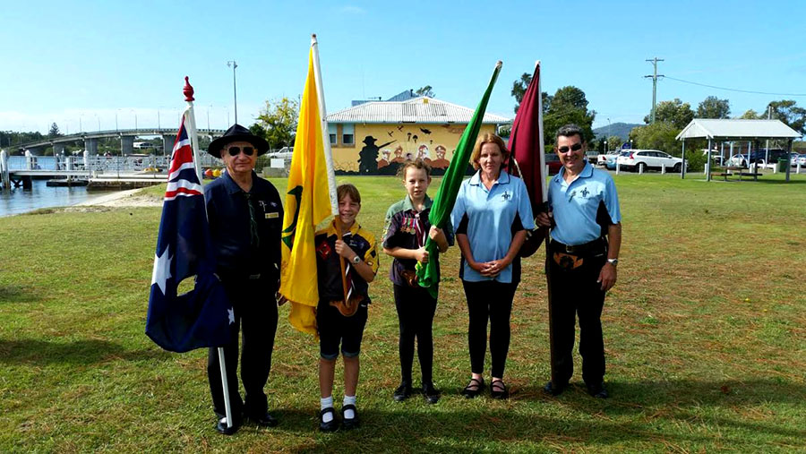 Scout Australia Stan Woodrow, Cub Scout Lily Denton, Scout Hollee Denton, Parent Helper Kim Denton and Deputy Chairperson Group Support Committee Peter Denton. Photo supplied.