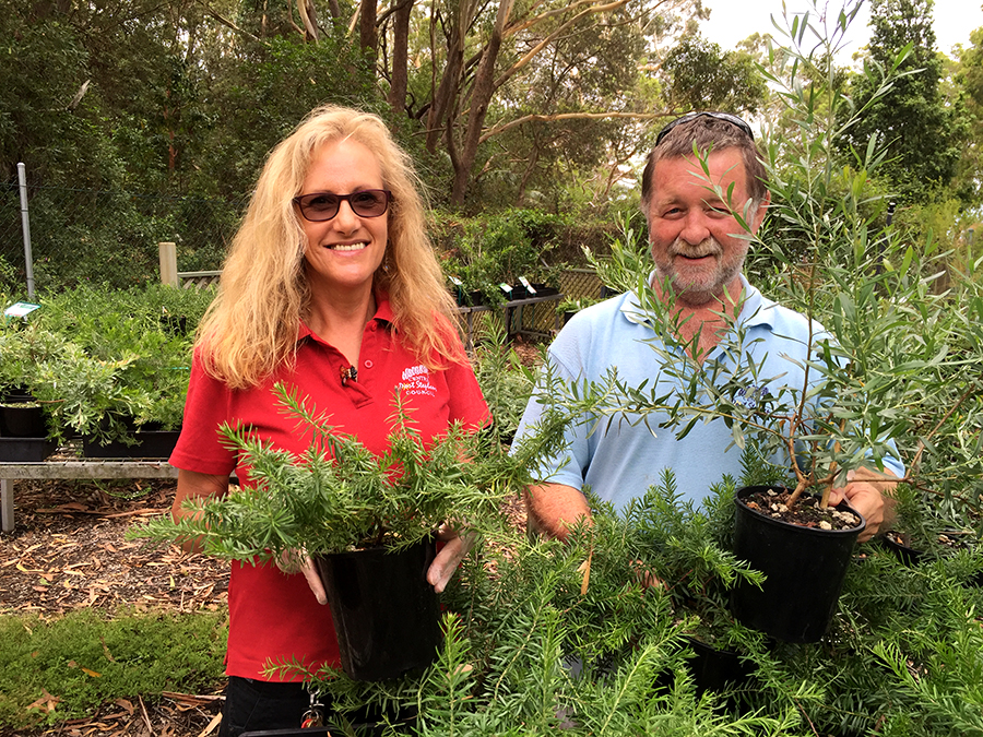Program Supervisor Jenny Megson and Coordinator Steve Crooks in the plant sales area.