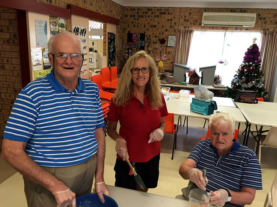 Warwick Rumble, Jenny Megson and Peter Madden enjoying the new cooking program. Photos by Jo Finn
