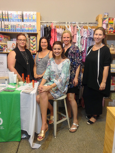 Women in business - Lauren Harley, Melinda Smylie, Sam Rumble (sitting), Jade Oldham and Jess Stefanish treated guests to a night showcasing their businesses.