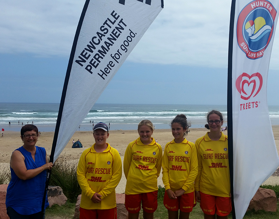 Debbie Booth (Hunter Dir. Education and TGHN member) with our Junior Lifesaving Representatives -  Sam Hyde, Maddison Churchouse, Tahlia Walton and Windjana Chester at Birubi Beach.