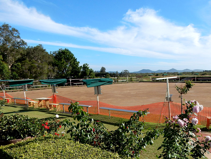 Tea Gardens Bowling Club's grass green in the early stages of refurbishment.