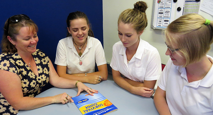 : Mentor: BCS Deputy Principal Mrs Deb Gilbert with current Year 12 students Bonnie Hay, Bianca Mason and Kaitlyn Gregory.