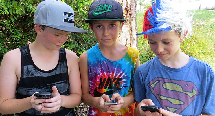 Tommy Keen from Bulahdelah, Dane Pope from Hawks Nest and Jonathan Hawes from Tea Gardens use social media safely to connect with friends.