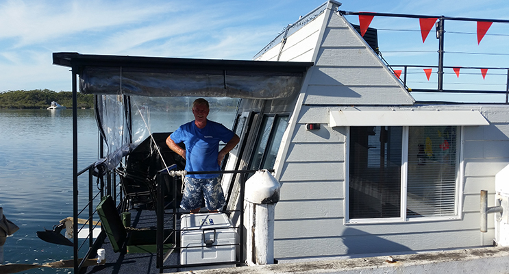 SHIP SHAPE: Houseboat launched at Hawks Nest.