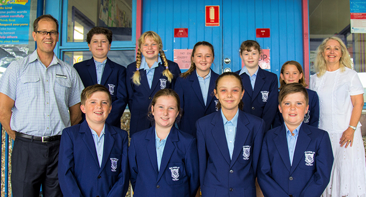 : BCS Assistant Principals Mr Rod Pye and Mrs Carol Wills with Captains Oliver Gibbs, Maggie Cunich, Charlise Luxon, Amia Murphy, Polly Sullivan, Toby Barry, Grace Kiehne, Ruby Roberts and Kurtis Barry.