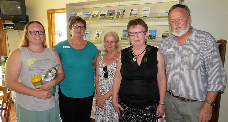 : Ashley Dexter, MidCoast Community Liaison Officer Tracey Farrant, Ruth Butler, Dianne Burns and Chamber of Commerce Vice-President Kevin Carter discuss the closure of the library.
