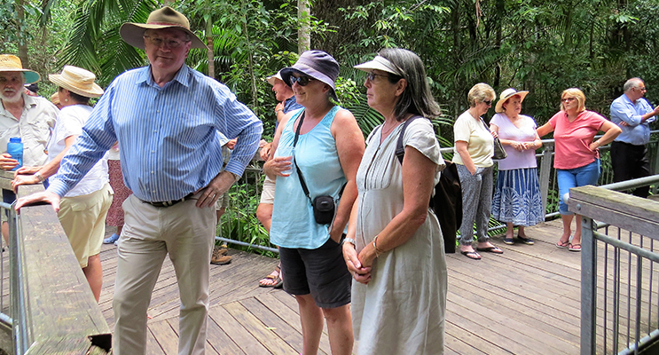 : Myall Lakes MP Stephen Bromhead and community members at The Grandis viewing platform.   PHOTO 5: Celebrations: Community members at The Grandis Picnic Area.