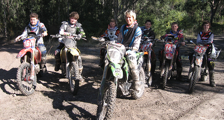 Luke with his 'boot camp' students at his Tanilba Bay training track.