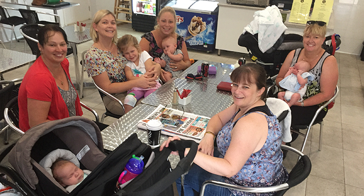 A group of mums catching up for coffee, some of whom took the opportunity to put their older children in the creche for some fun activities - Margaret Hurn, Heather Sharp, Elysia Montgomery, Alison Elliott and Skye Welsh.