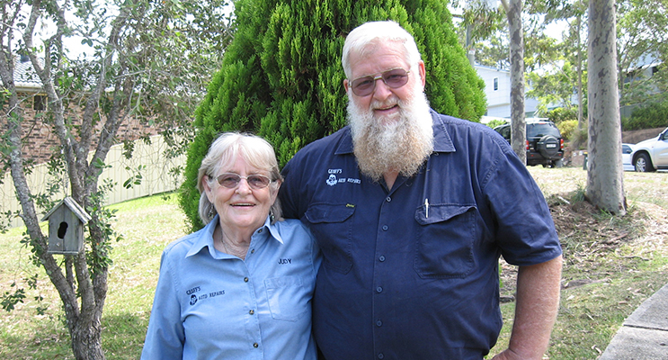 Former owners of Geoff's Auto service Judy and Geoff Camm.
