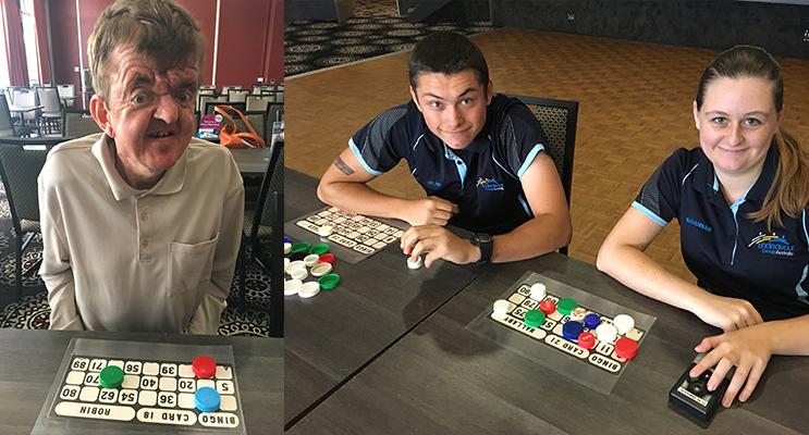 Dean Woods enjoying bingo. (left) 2.Dylan Fry and Savannah Davidson at the bingo event. (right)