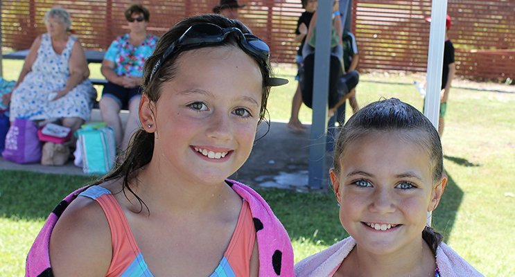 Competitors:  Ashley and Lexi at Karuah Public Schools swimming carnival.