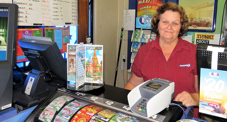 Bulahdelah Newsagency owner Sue Chick is hoping to sell another winning ticket.