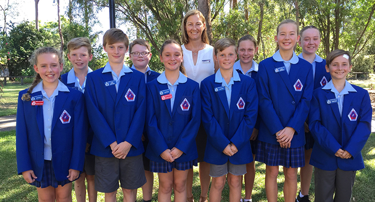 The school leaders proudly ready to serve the school community. Pictured with the school's Principal, Ms Philippa Young, are: Sibella Rowan, Ryan Trappel, Travis Lamborn, Riley Tyson, Andie Archer (Captain), Will Phillips (Captain), Ashlei Stapleton, Madeleine Beninga, Lily Foster, and Zac Ruhl.