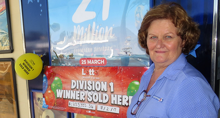 Bulahdelah Newsagent owner Sue Chick sold the $1.3 million winning Saturday Lotto entry