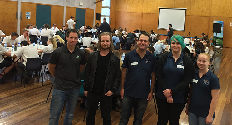 : Ryan Mouthaan from Port Stephens Council, Guest speaker Nic Newling, and Youth Advisory panel representatives Adrian Solomons, Mahaylia Soars and Renae Andrews in the packed forum
