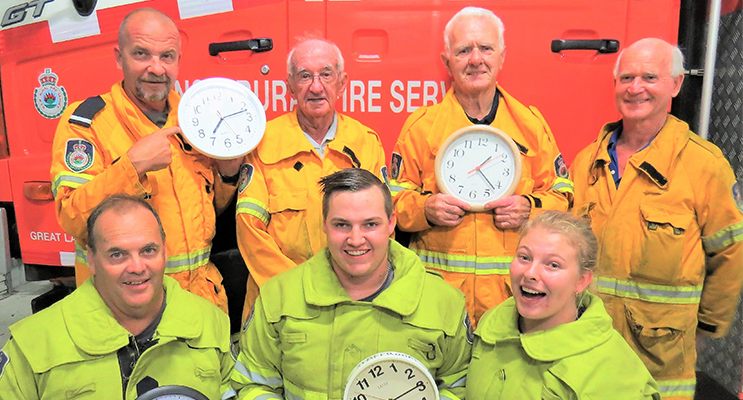 Bulahdelah Rural Fire Brigade: Rod Paar, Laurie Sumner, Kevin Johnston, Grahame Rowell, Captain Mark Hartwell, Jake Blanch and Meagan Terry.