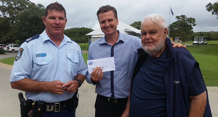 POLICE CHARITY GOLF DAY: Senior Constable Dave Coyle, Mark Hughes and former Police Officer, Norm Webber.