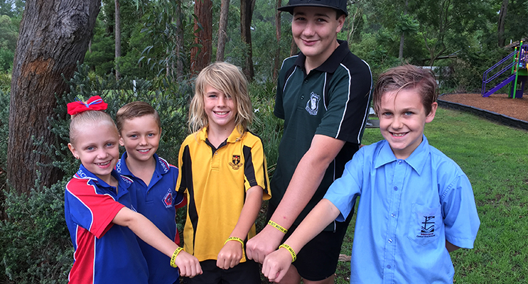 Medowie Schools standing together against bullying - Adryane and William Montgomery from Wirreanda PS, Oscar Smith from Medowie PS, Attila Worley-McGrath from Irrawang HS and Alexander Moore from Medowie Christian School.