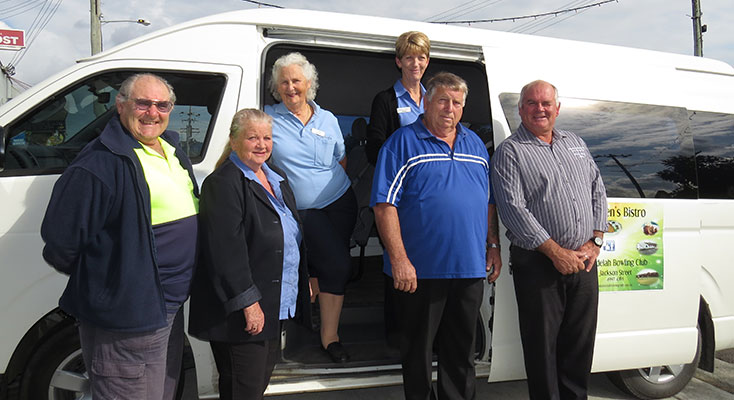Volunteer Harold Farrow, Manning Valley & Area Community Transport CEO Jennifer Hadfield, Volunteer Juliet Farrow, Tea Gardens Community Transport Administer Sharon Hooper, Bulahdelah Health Committee member Garry Haynes, and Bowling Club Manager Allan Freihaut.