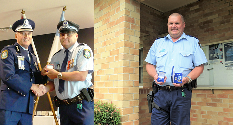 Manning Great Lakes Commander Peter Thurtell presents the NSW Police Medal to Senior Constable Trevor Mcleod. Photo Supplied (left) Senior Constable Trevor Mcleod awarded the NSW Police Medal for 30-years of service.(right)