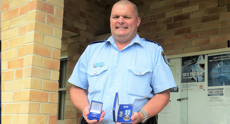 Senior Constable Trevor Mcleod awarded the NSW Police Medal for 30-years of service